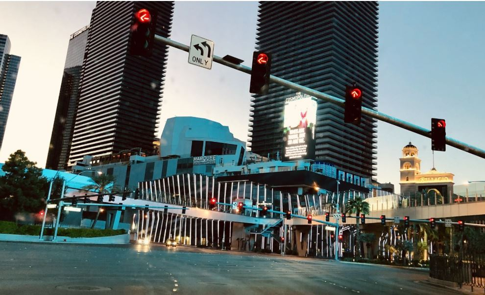 The streets up and down the Strip are empty.
