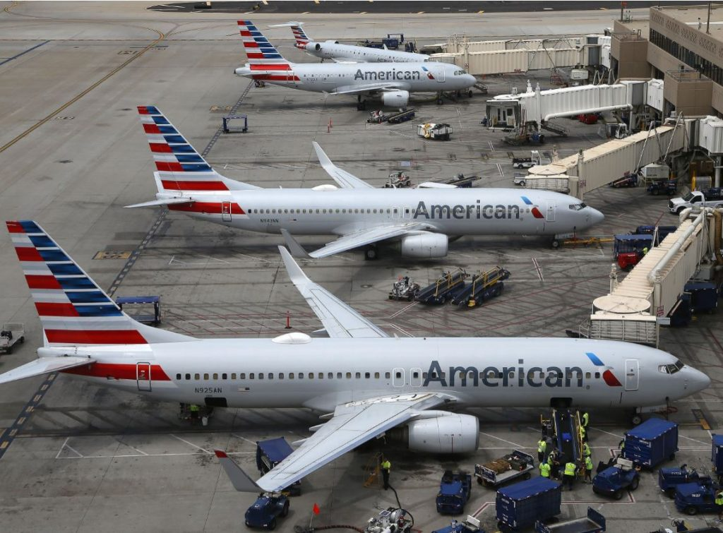 american airlines planes parked at airport