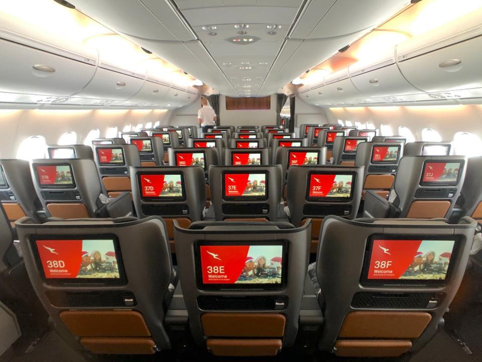 Qantas airlines interior of plane