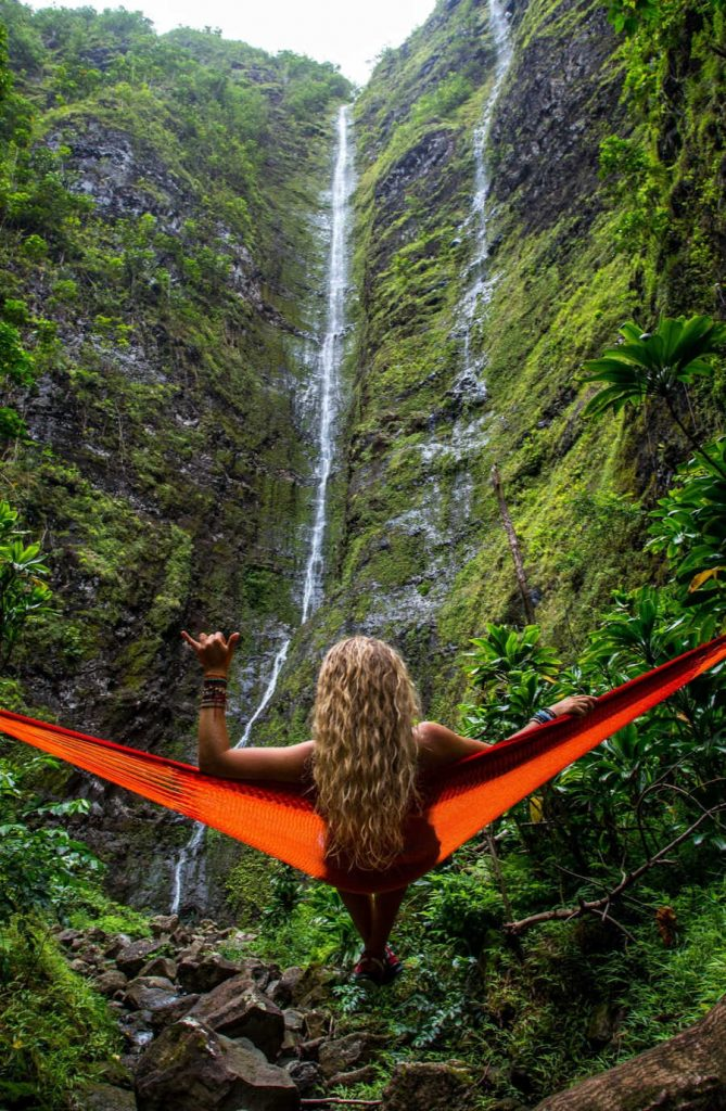 Tourist on Hammock in Hawaii