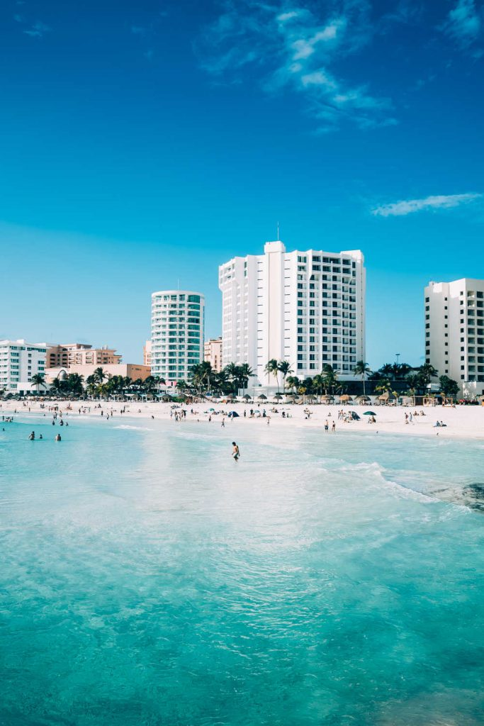 cancun hotel on white sand beach