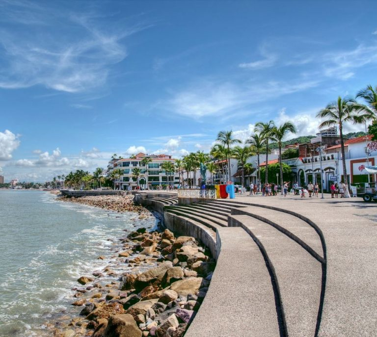 malecon in puerto vallarta with palm trees