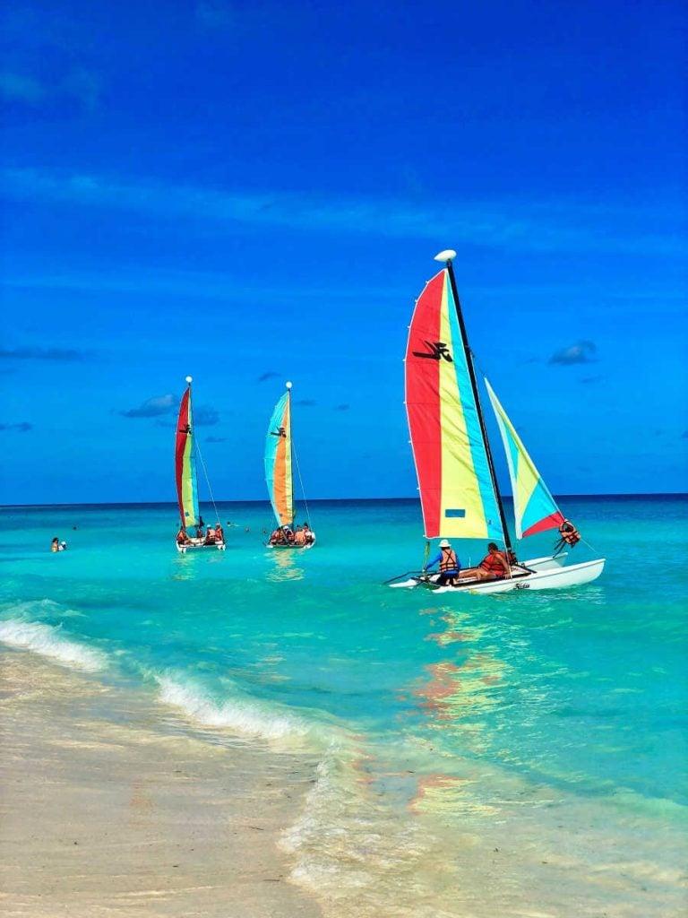 cuba beach with sailboats