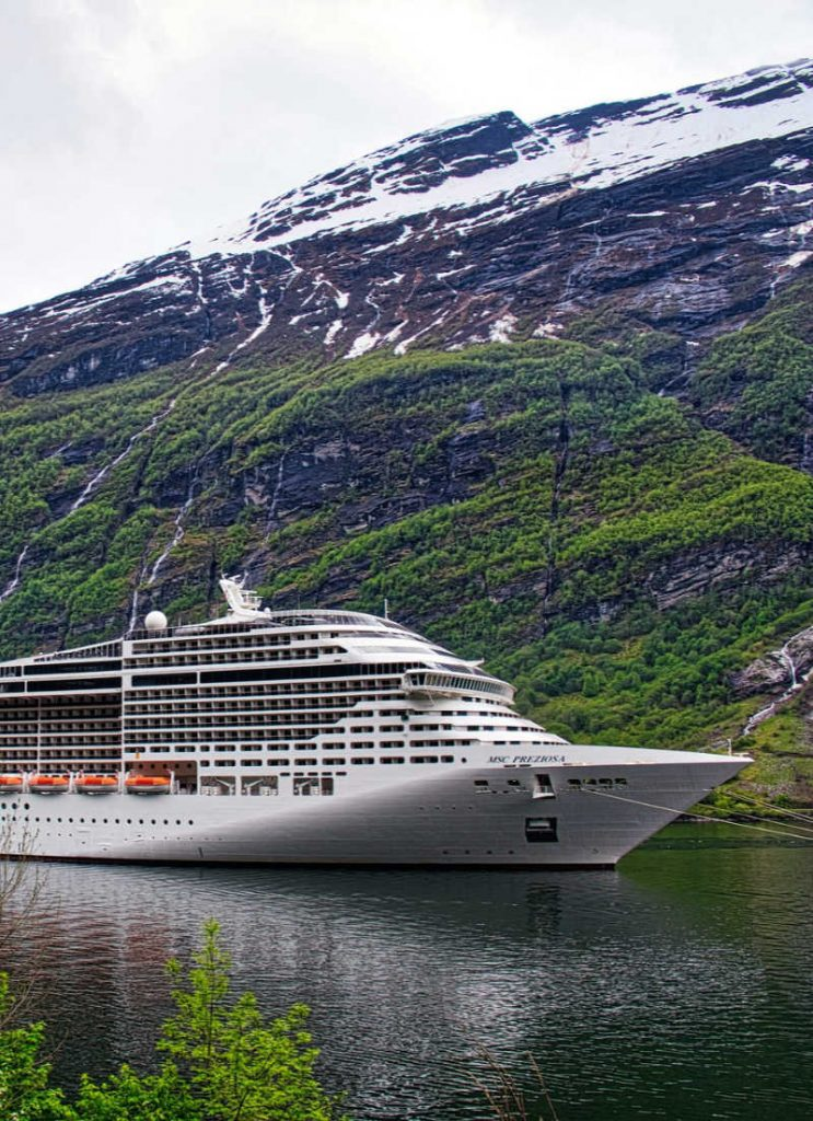 MSC Cruise Ship In norway beside mountain