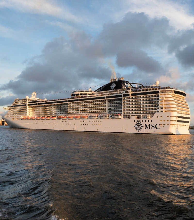 MSC cruise ship with clouds above