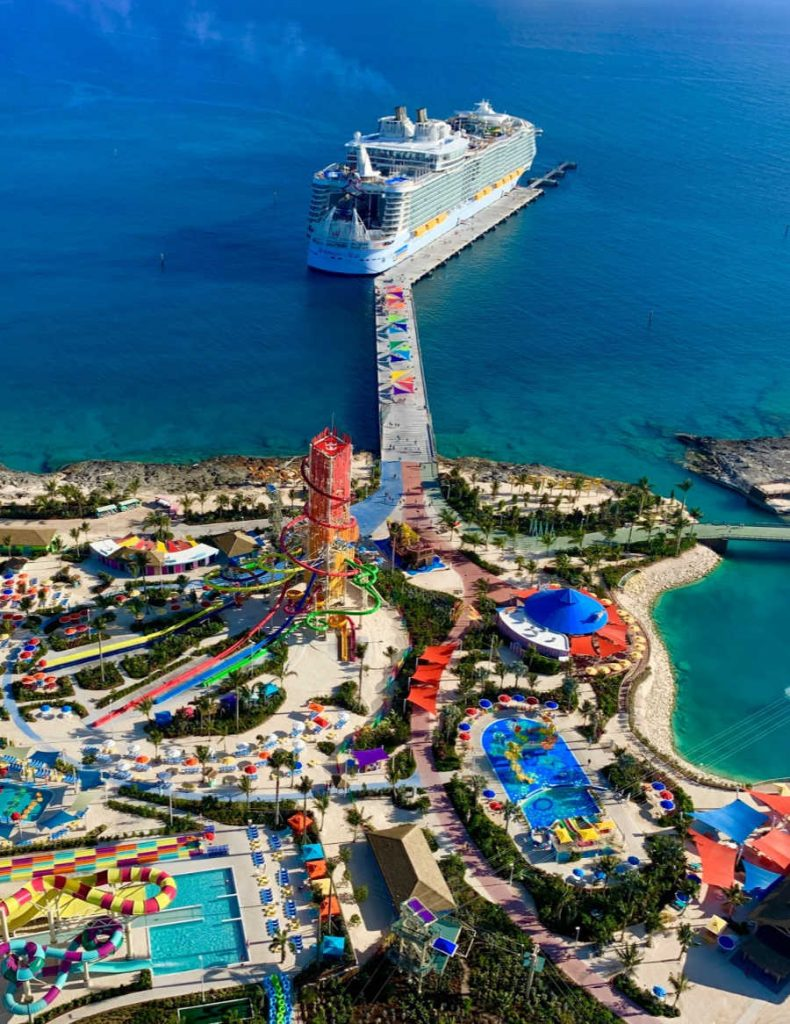 Royal Caribbean Ship at private island with waterslides