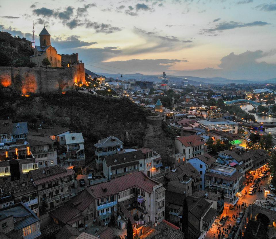 Tbilisi, Georgia at night aerial view