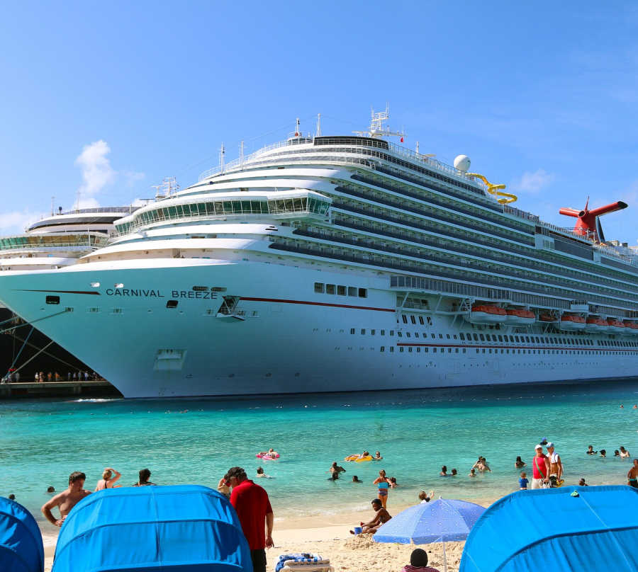 carnival breeze in port at beach