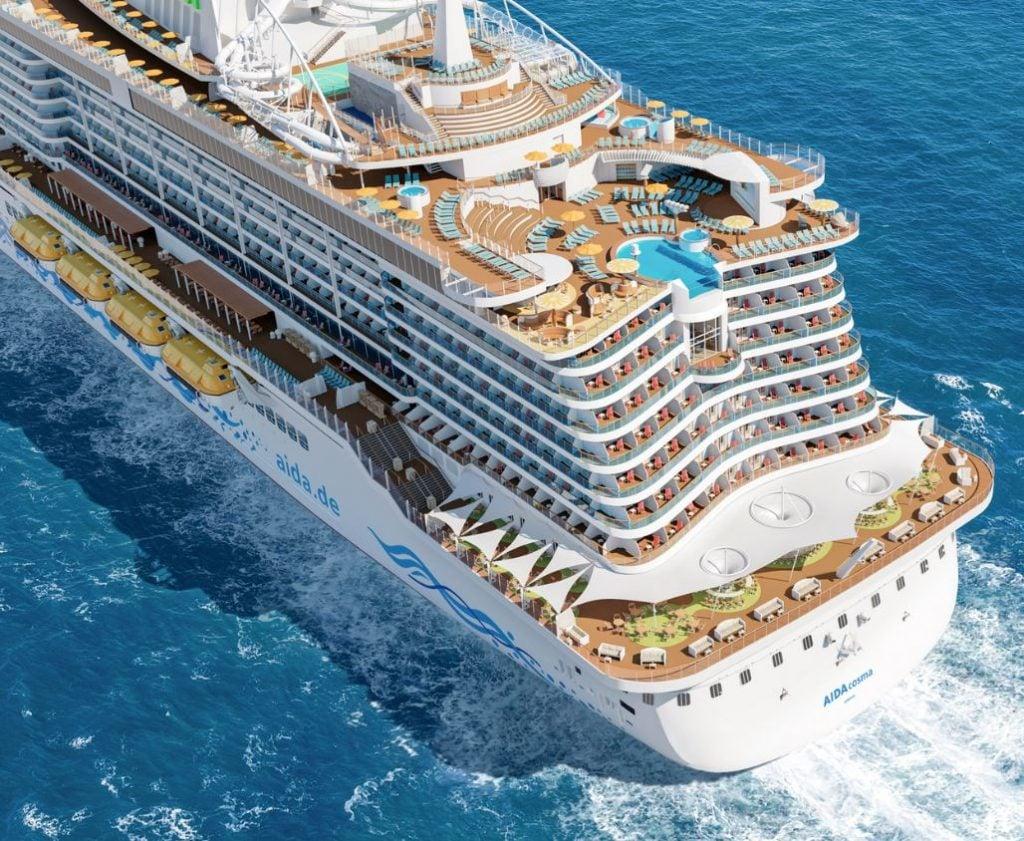 Aida cruise ship from back
