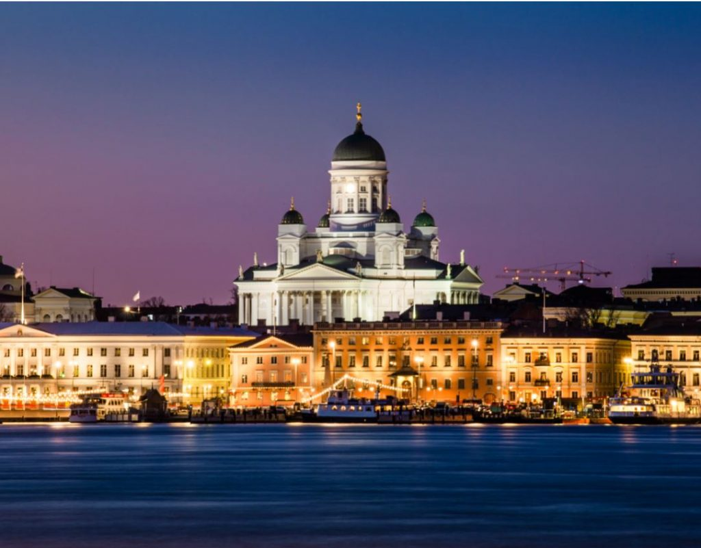 Cathedral in Finland at night