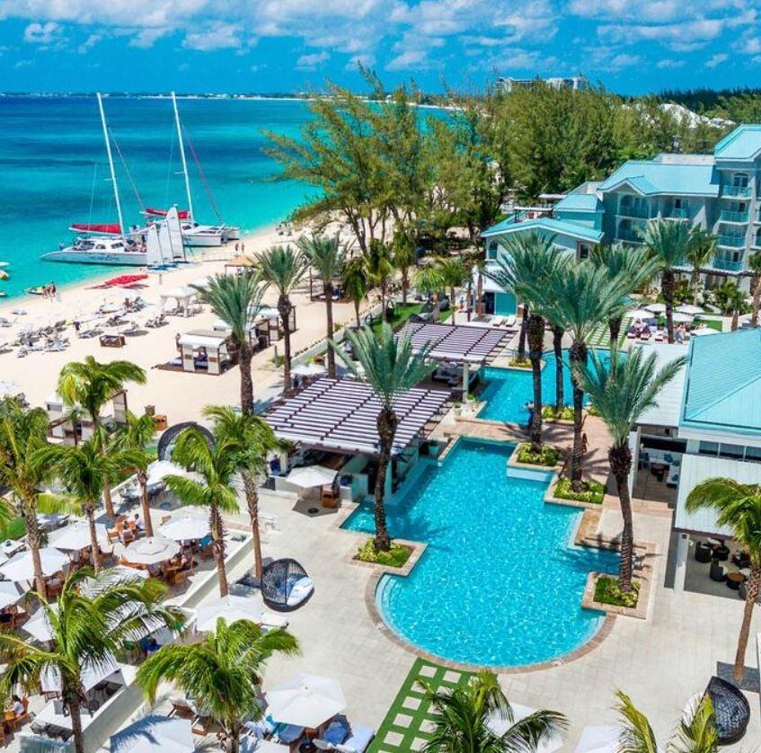Cayman islands hotel on beach