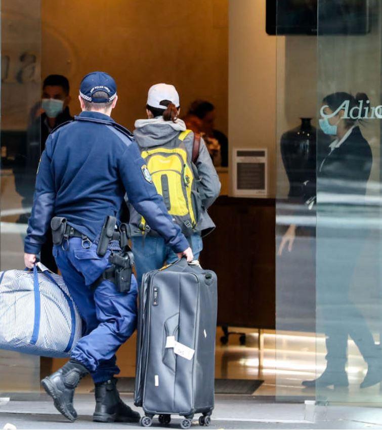 guest arriving at quarantine hotel