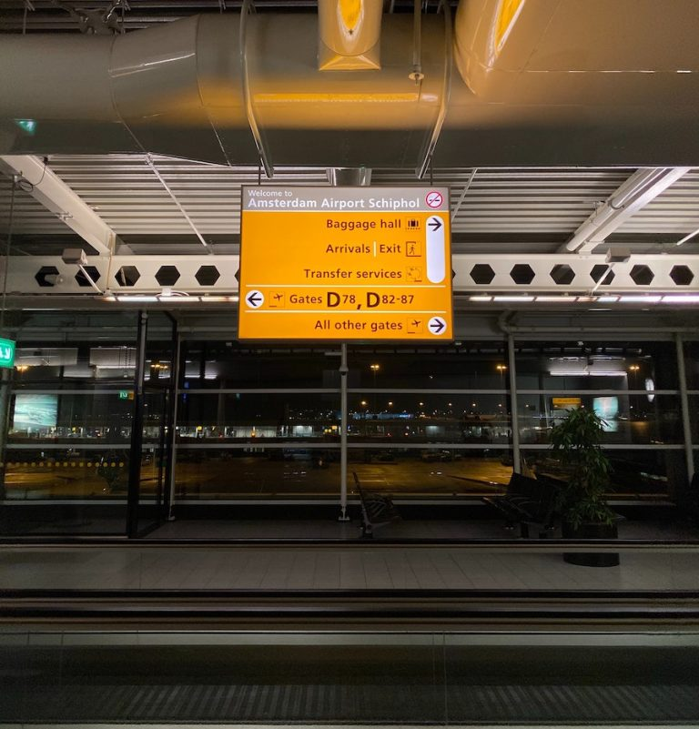 transit at AMS airport in Amsterdam