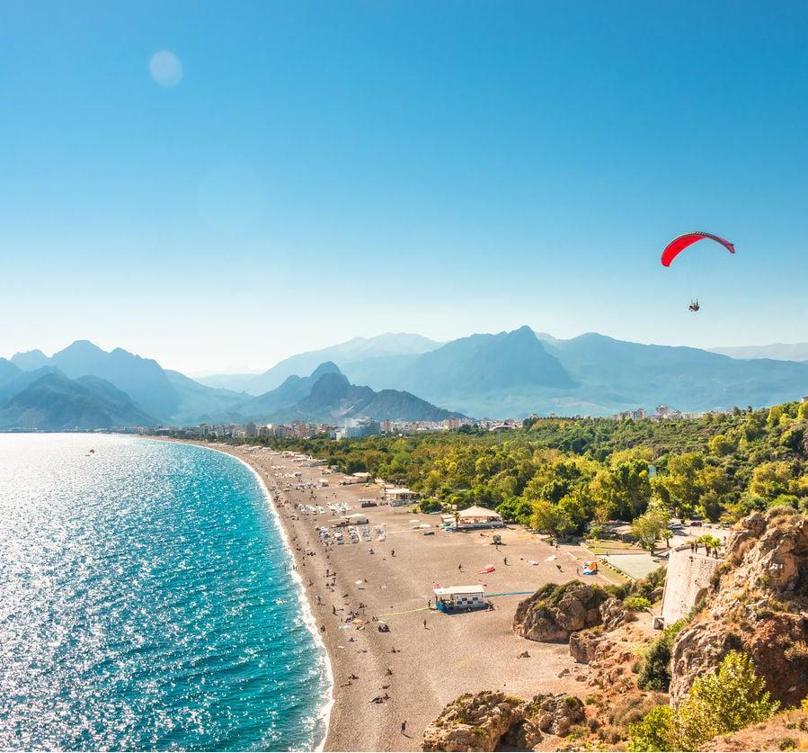 Aerial view of Antalya on the Mediterranean Sea