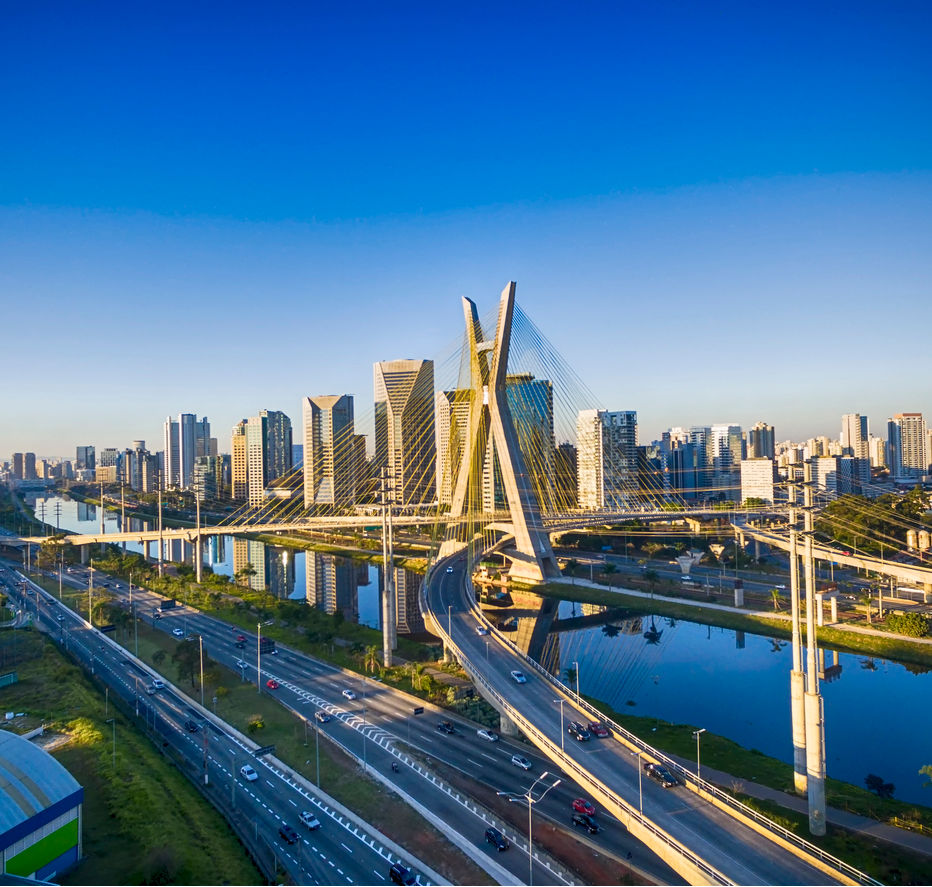 Aerial view of the famous cable stayed bridge located at Sao Paulo city, Brazil