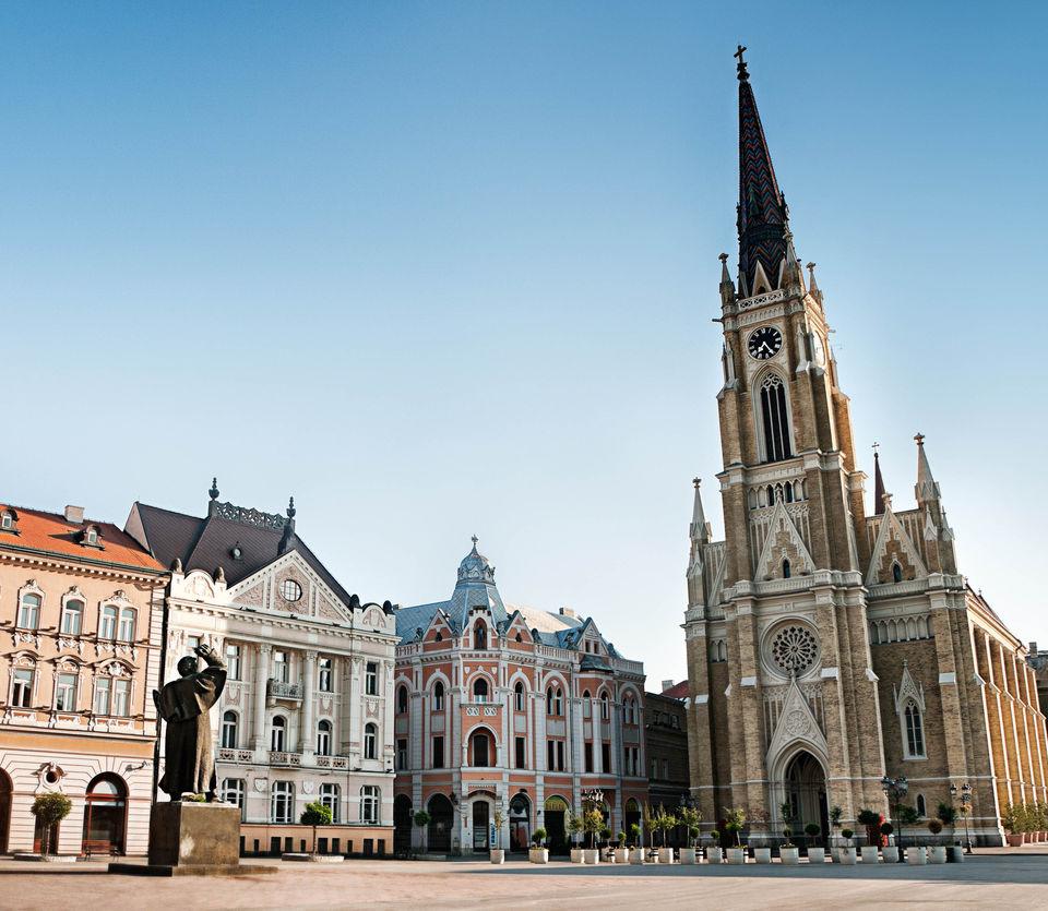Church square in serbia