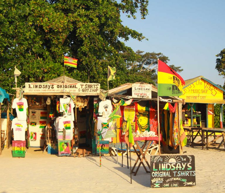 Gift and craft shops on Bourbon beach in Negral, Jamaica