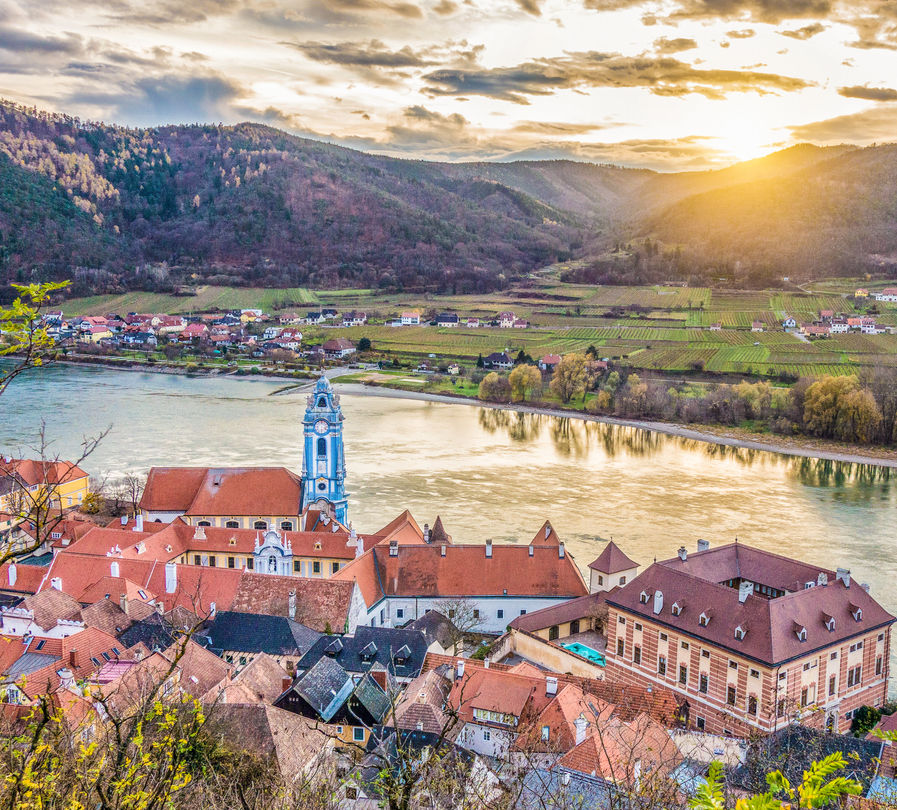 Austria buildings sunset