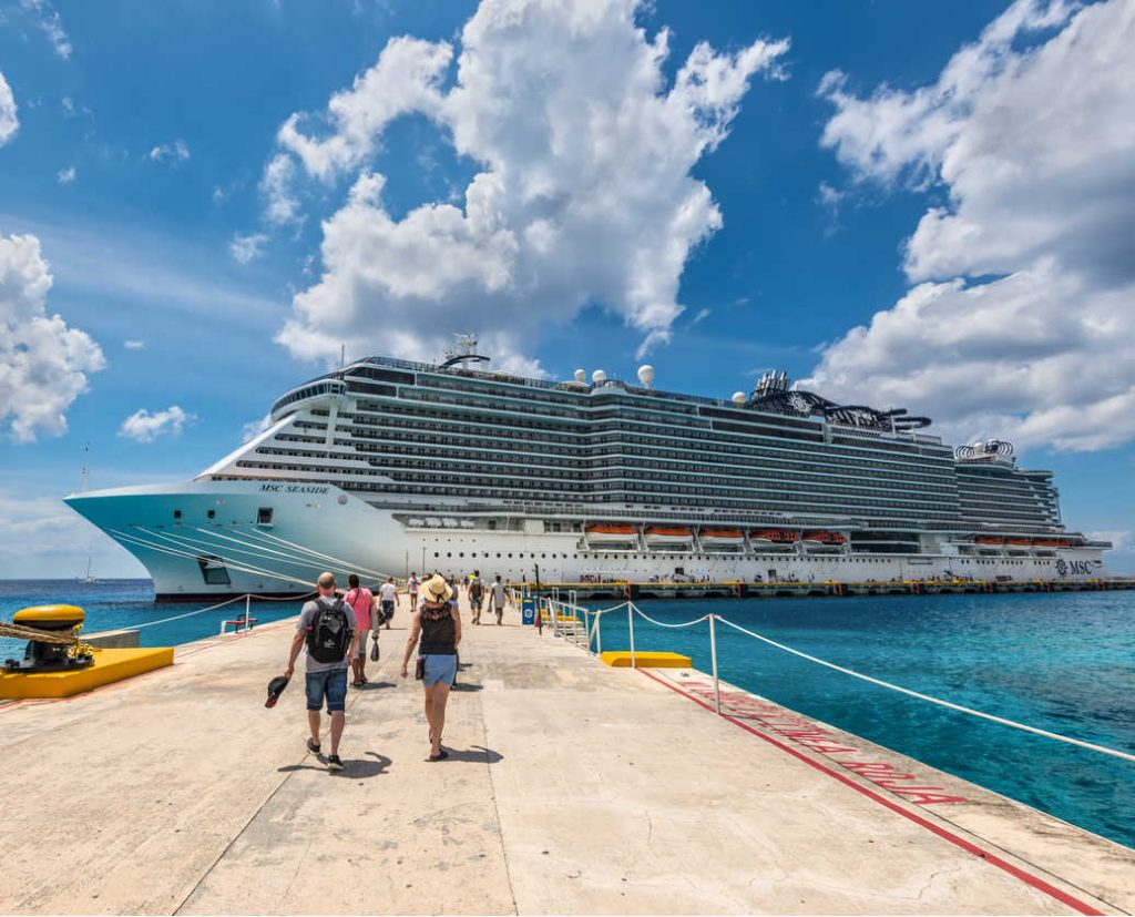 cruise ship docked in Cozumel