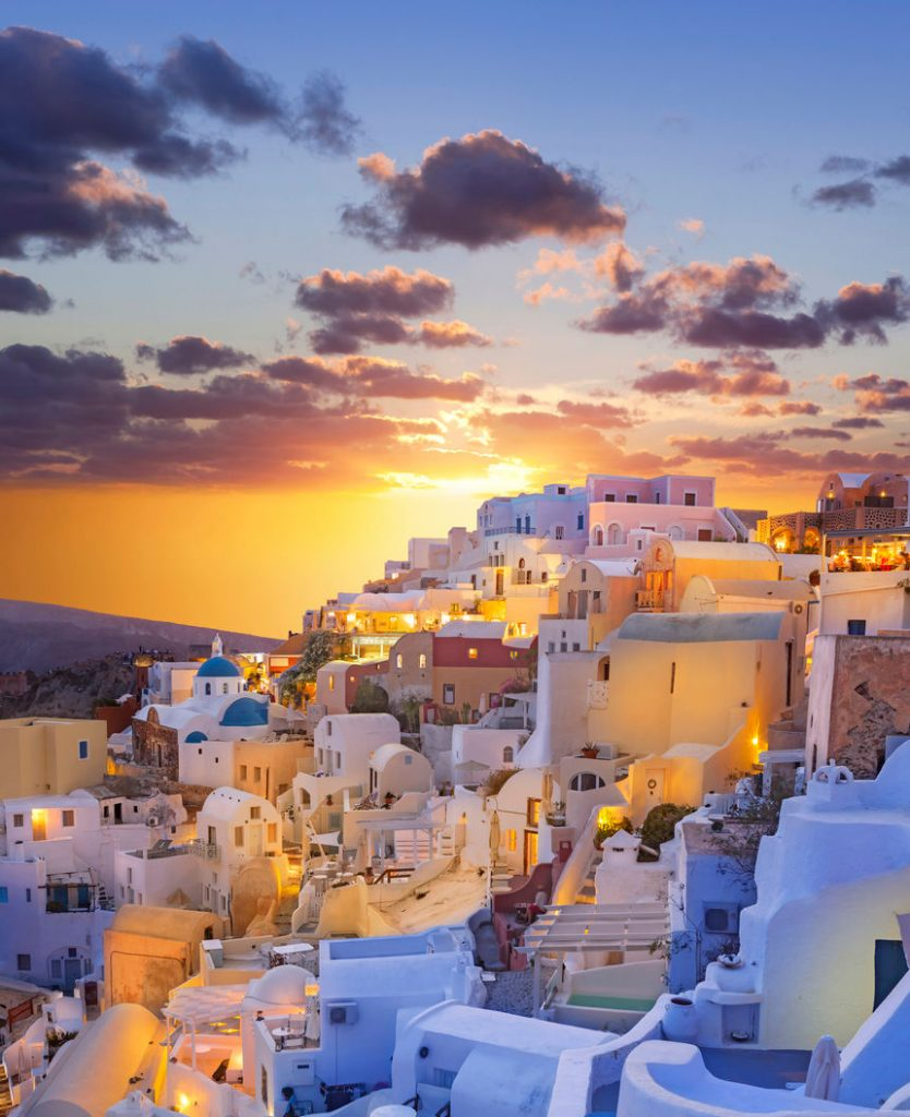 Santorini sunset over the village of Oia in Greece