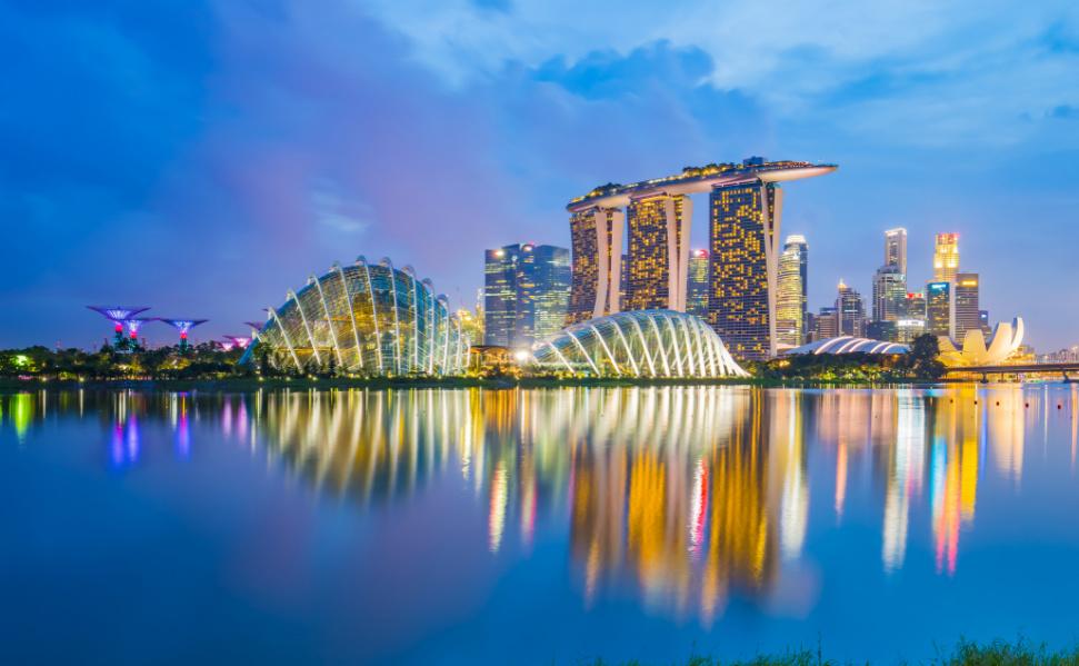 Singapore skyline cityscape at night.