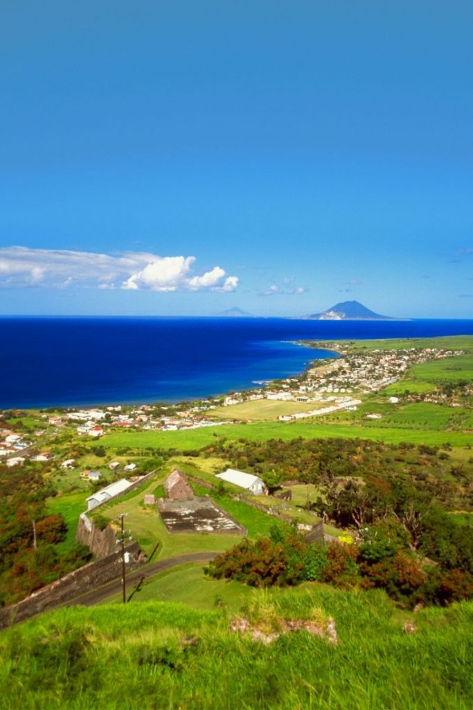St. kitts and nevis landscape with ocean in background