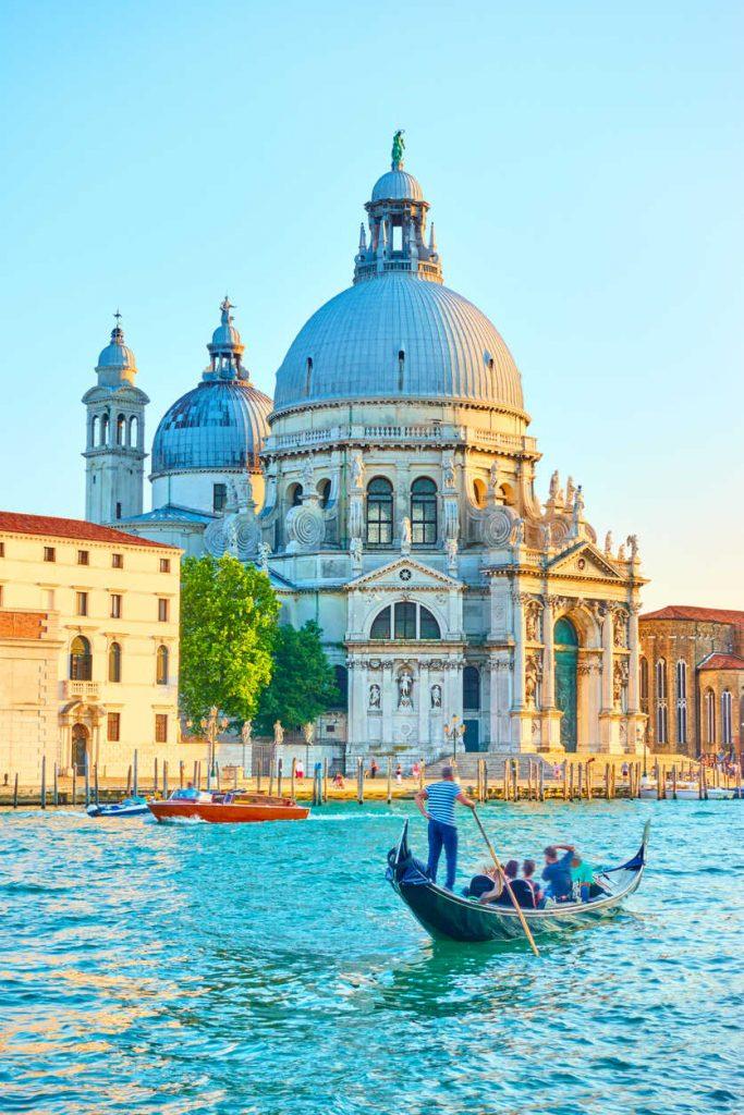 The Grand Canal and Santa Maria della Salute church in Venice, Italy