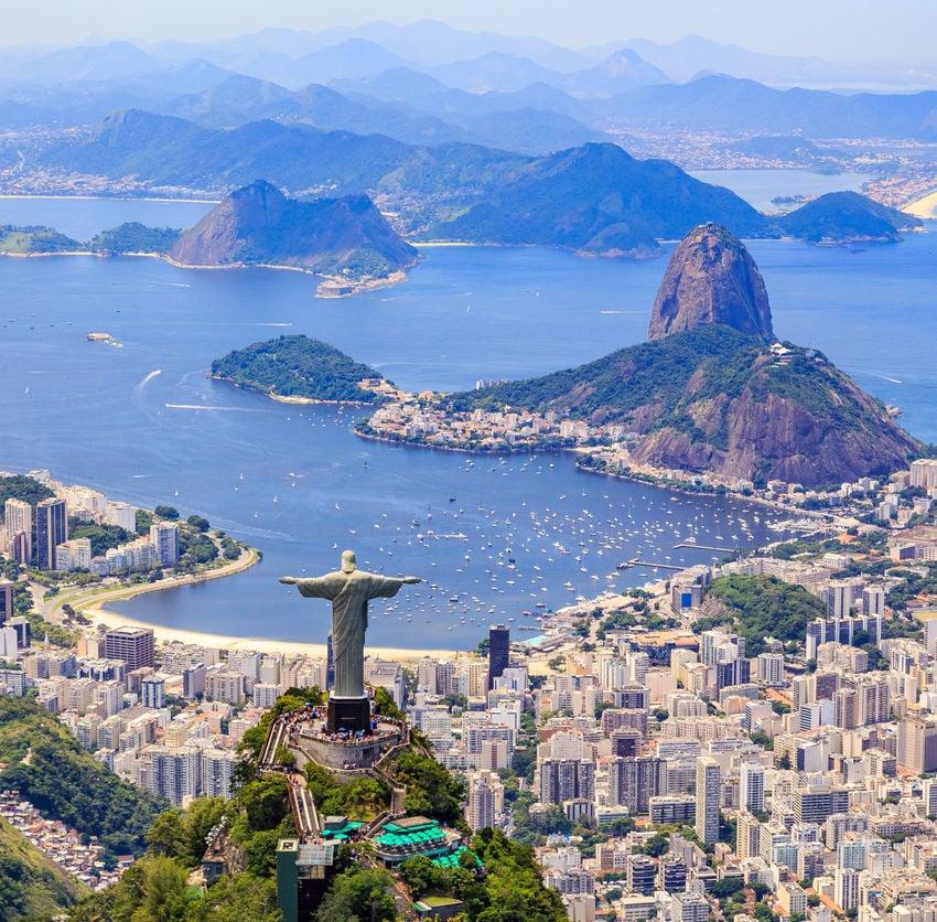 The Redeemer Monument and the Corcovado Mountain in Rio de Janeiro, Brazil