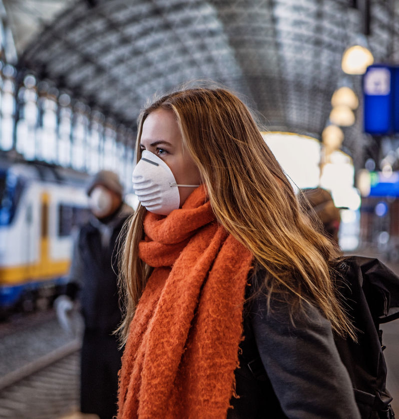 Traveler waits for a train in the Netherlands during the COVID-19 pandemic