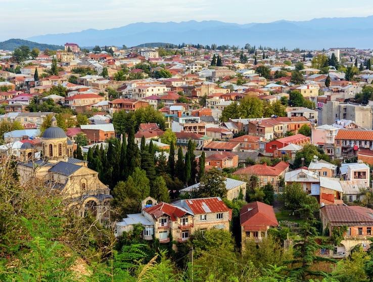 Panorama view of Kutaisi town in Georga, Imereti region.