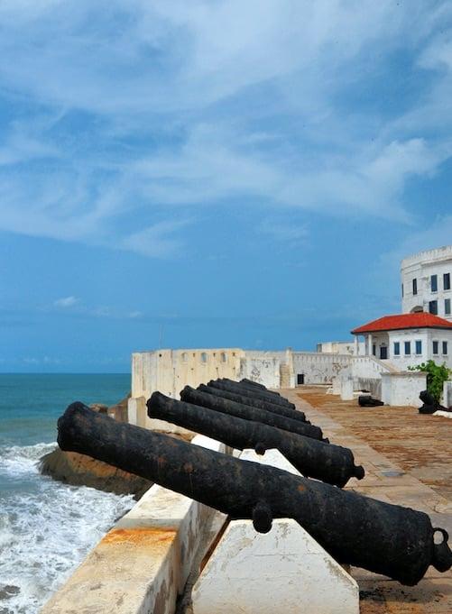 Cape Coast castle - rusting artillery aimed at the gulf of guinea