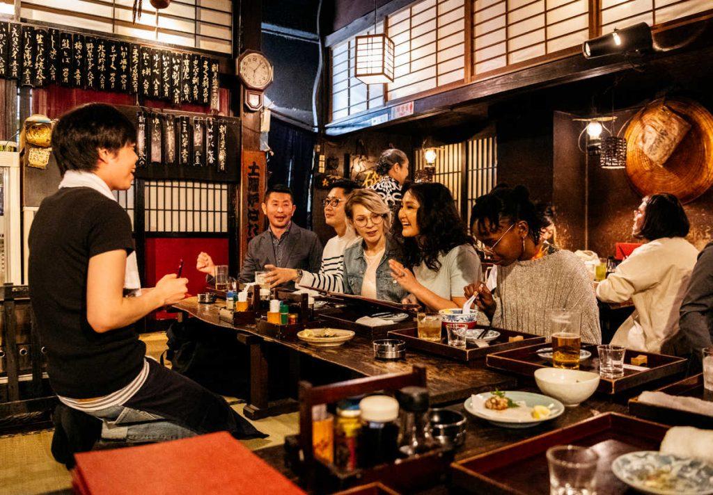 travelers inside restaurant
