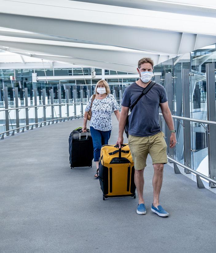 passengers in masks