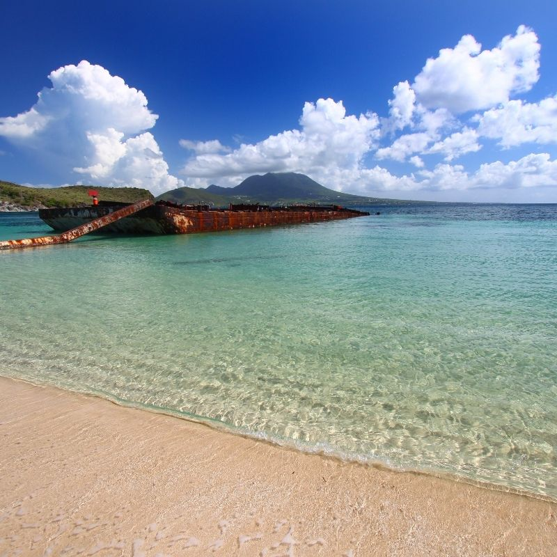 st kitts and nevis beach with clear water