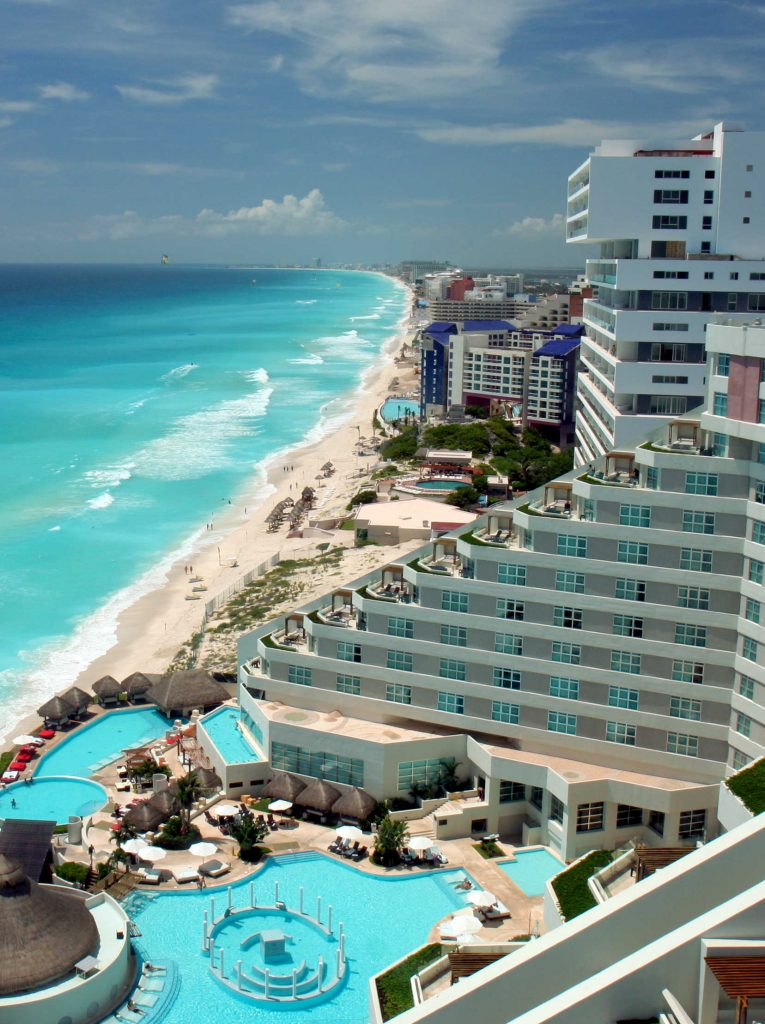 Aerial view of Cancun beach and resorts