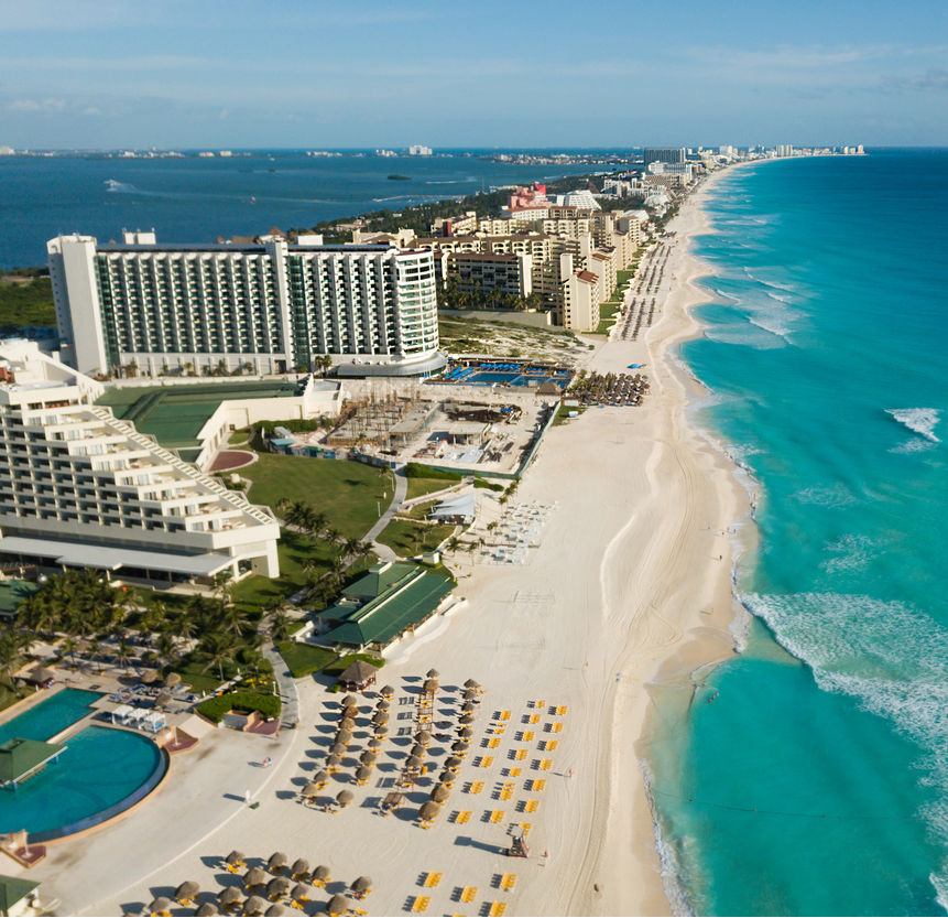 Aerial view of resorts along the beach in Cancun, Mexcio