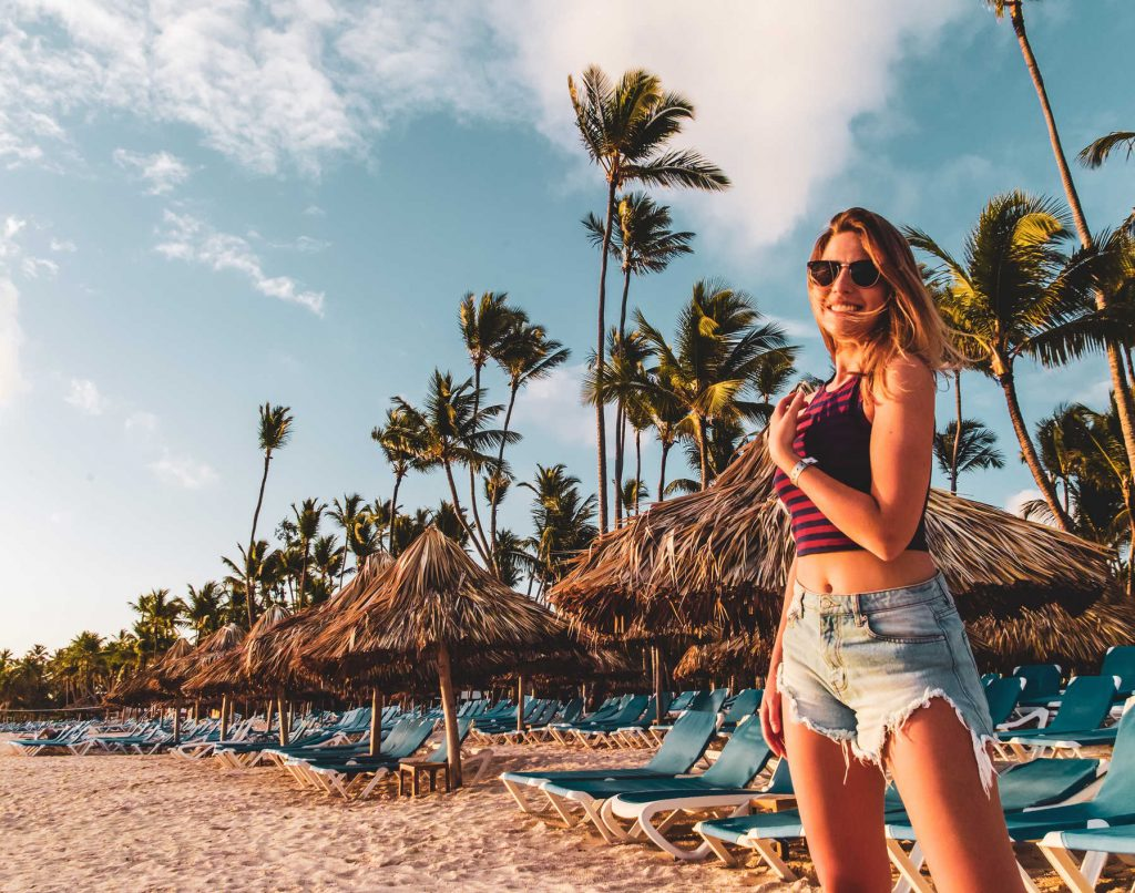 American Tourist at Bavaro Beach in Punta Cana, Dominican Republic