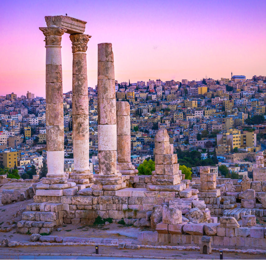 Amman Jordan sunset over Roman Ruins