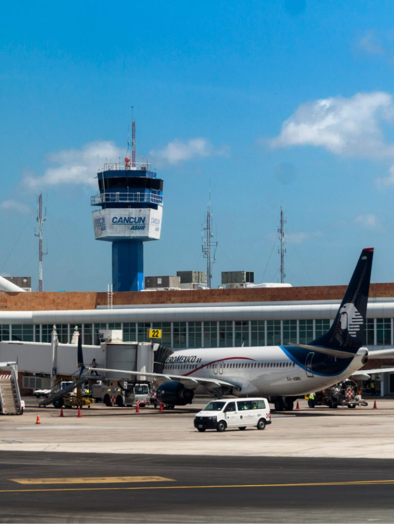 Control tower of the international airport in Cancun