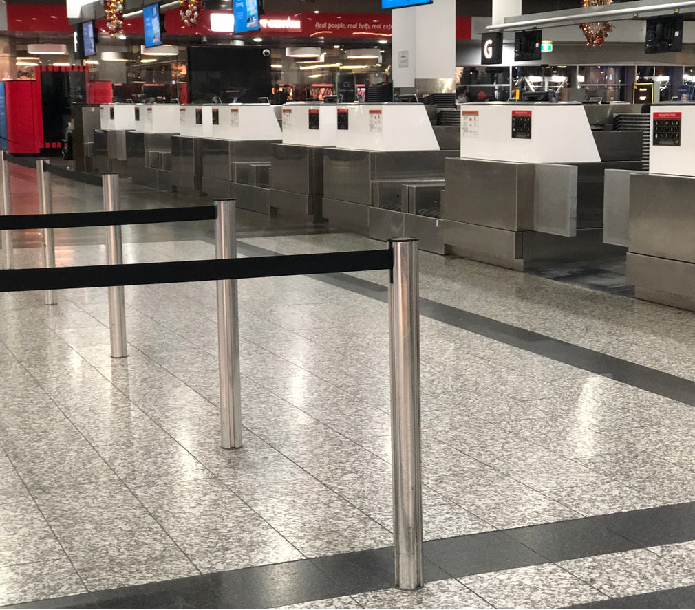 Empty line ups at the Melbourne Airport in Tullamarine during the pandemic