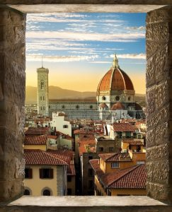 American tourists entering Florence Italy