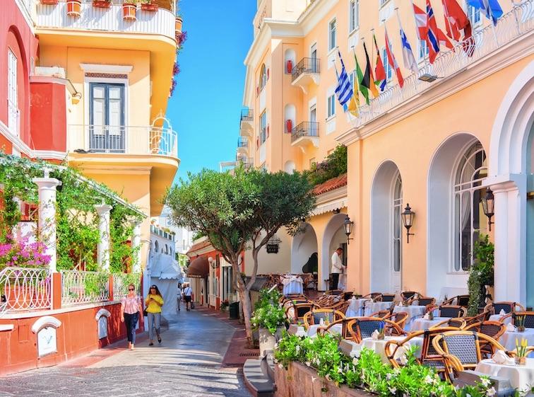 Street cafes on Capri Island, Italy