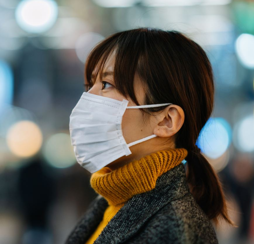 Japanese woman wearing mask