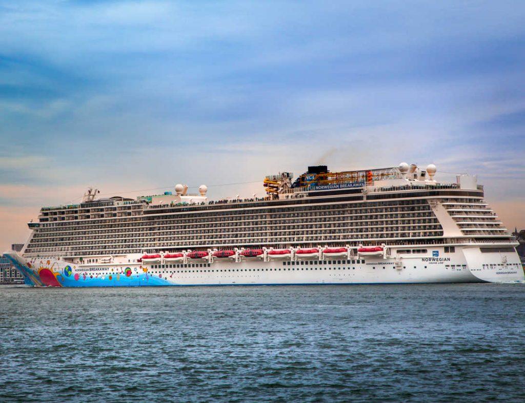 Norwegian cruise ship, Breakaway leaving New York Harbor