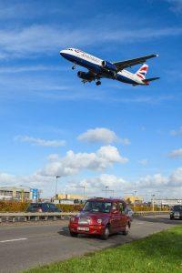 Plane taking off near London Heathrow International Airport