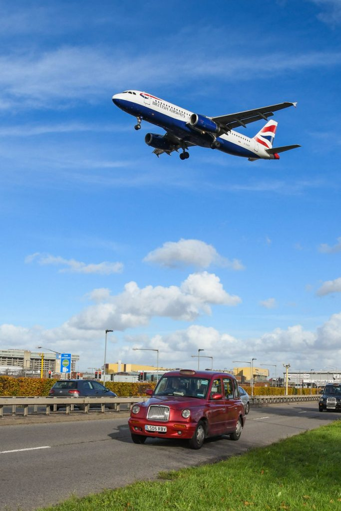 Plane taking off near London Heathrow International Airport