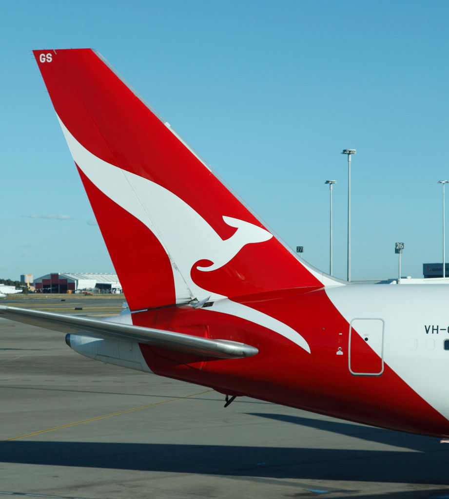 Qantas 767 parked at the Brisbane airport