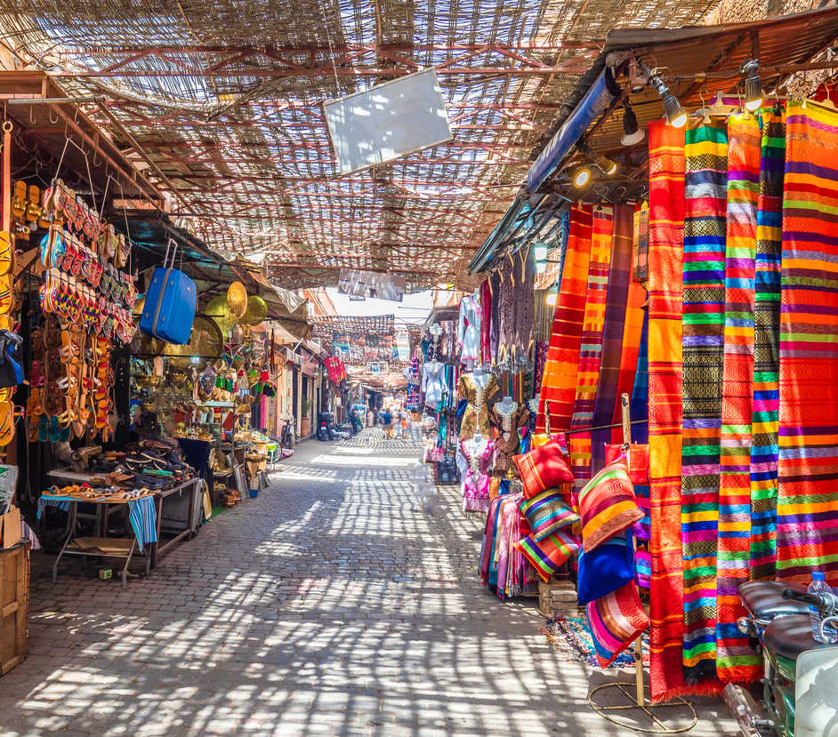 Souvenirs at the Jamaa el Fna market in old Medina, Marrakesh, Morocco
