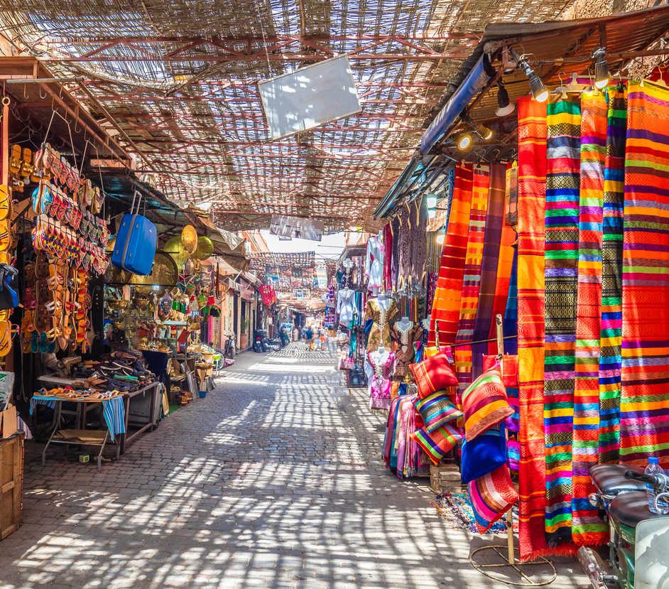 Souvenirs at the Jamaa el Fna market in old Medina, Marrakesh, Morocco