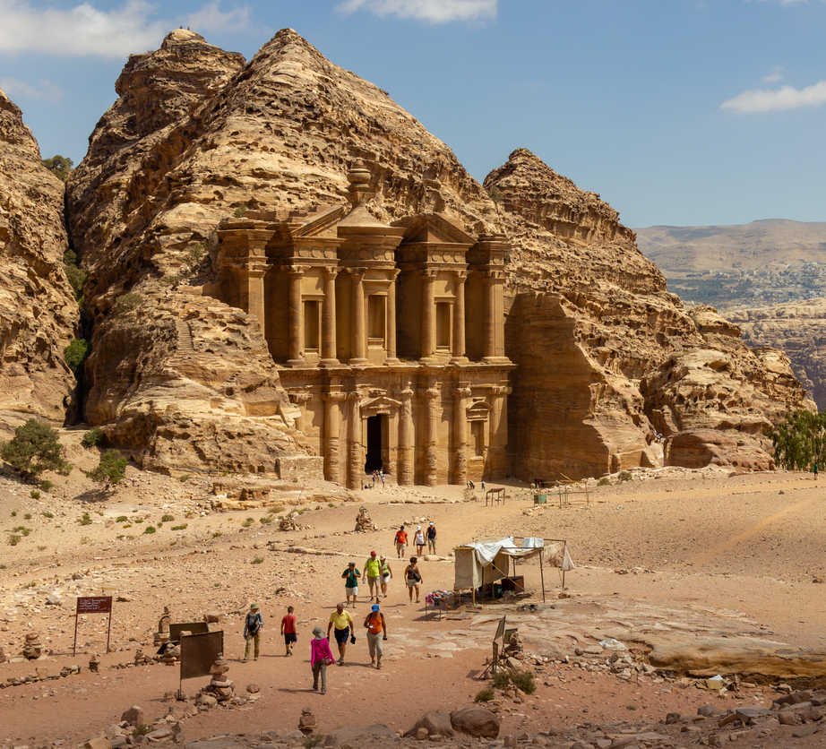 The Monastery (El Deir) and surroundings. One of the most beautiful facades in Petra, Jordan